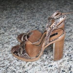 Snake skin heeled sandals